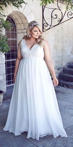v neack plus size wedding dresses from leahs designs / http://www.deerpearlflowers.com/plus-size-wedding-dresses/