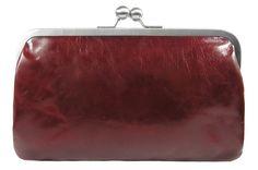 Clutch BT6 HILDEGARD vintage rubin kleine Ledertasche mit Riemchen im Inneren Bügeltasche Leather Bag dunkelrot