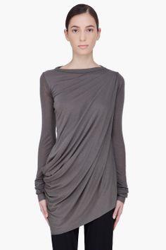 Rick Owens Lilies Dark Grey Draped Shirt