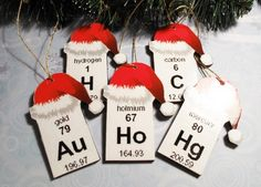 Periodic Table Christmas Ornaments, Set of 5, elements wooden science | CsCharms - Seasonal on ArtFire