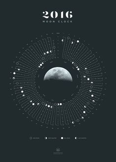 2016 Moon Clock - a yearly calendar by Michael Paukner. Here's the remake of…