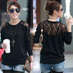 Fashion+2013+Women%27s+Batwing+Top+Dolman+Lace+Loose+Long+Sleeve+T-Shirt+Blouse+for+Women+Plus+Size+S+M+L+XLXXLXXXL+Free+Shipping+%249.99+-+12.99