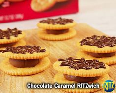 15 mins to make, serves 24 -- INGREDIENTS (Vegetarian) -- BAKING & SPICES • 2 oz Baking chocolate, semi-sweet • 24 Caramels in milk chocolate, chewy SNACKS • 48 Ritz crackers