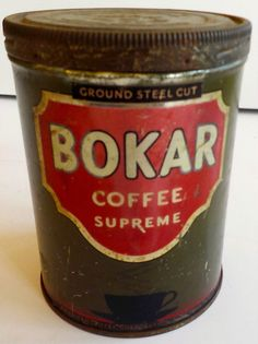 ANTIQUE 1900S GROUND STEEL CUT BOKAR COFFEE SUPREME TIN CAN RARE. #BOKARCOFFEE