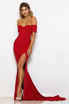 abyss by abby uk clara red long bodycon bardot off the shoulder sexy prom dress with fishtail mermaid train Shrug For Dresses, Backless Maxi Dresses, Girls Dresses, Sleeve Dresses, Dresses Uk, Long Dresses, Sexy Dresses, Red Evening Gowns, Mermaid Evening Dresses