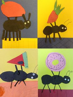 Children's collage of ants stealing food on the book how to make paper works Big Red Barn Book activity with a barn craft and…Shape Monster Collage Art Printable Set-Such a fun…Kandinsky tree collage Ant Crafts, Insect Crafts, Insect Art, Kids Crafts, Kindergarten Art Lessons, Art Lessons Elementary, Elementary Education, Ant Art, 2nd Grade Art