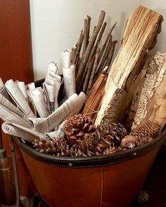 Cute Gift: Kindling Options for the fireplace.great holiday housewarming or hostess gift.gather good firestarters and a great container.check Martha for a list. Even a good decor idea for around the fireplace Best Fire Starter, Sand Candles, Martha Stewart Home, Cosy Interior, Interior Design, Fireplace Tools, Fireplace Ideas, Fireplace Candles, Fireplace Design