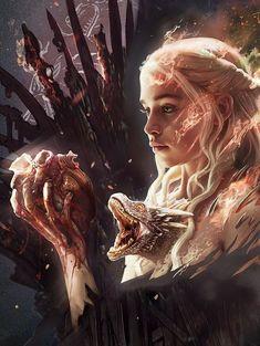 Game of Thrones - Daenerys Targaryen Game Of Thrones Tattoo, Dessin Game Of Thrones, Arte Game Of Thrones, Game Of Thrones Wallpaper, Game Of Thrones Artwork, Game Of Thrones Poster, Game Of Thrones Facts, Drogon Game Of Thrones, Game Of Thrones Dragons