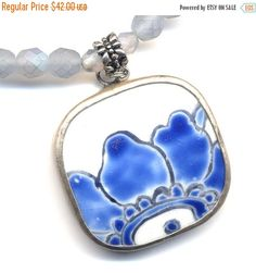 SALE 15% off Chinese Porcelain Pendant Necklace on by Annaart72