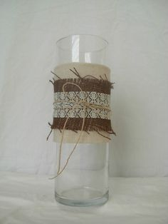 Meghan Vase with Burlap and Lace, Rustic Home Decor. $24.00, via Etsy.