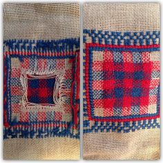 Check | Stitch detail | Repair and mending | Darned. Early 1900's sampler.