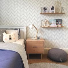 """We love how Little Liberty Rooms used our """"Tile Progress"""" wallpaper for this bedroom. So cute!"""