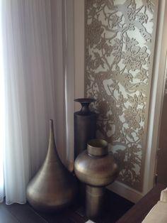 Tom Dixon accessories with bespoke lacquer artwork panel behind Decor, Tom Dixon, Master Bedroom, Home Decor, Dixon, Vase, Paneling
