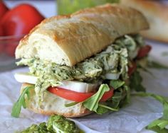 Chicken Pesto Sandwich from: 23 Easy Meals To Make With Store-Bought Roast Chicken