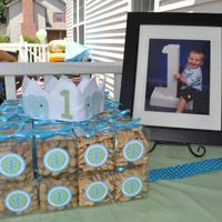 First Birthday Party Ideas - Adorable blue & green elephant theme for 1st b-day!