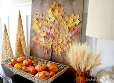 Love this!! Leaf-ception!! Leaves canvas fall autumn thanksgiving harvest decor
