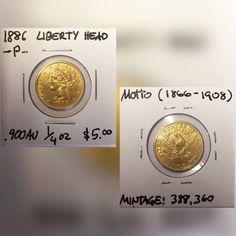 1886 Liberty Head $5.00 gold coin