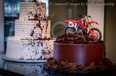 Our wedding cakes! Braaap! #classyfun #bride #groom #motocross #chocolateroost