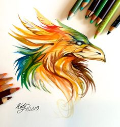 189- Phoenix Head Design by Lucky978.deviantart.com on @DeviantArt