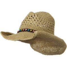 Ladies Crochet Cowboy Hat - Khaki W37S13B MG. $20.99
