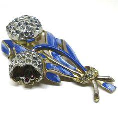 Blue Brooch  Vintage Adolph Katz Coro Gold Tone by MyDellaWear