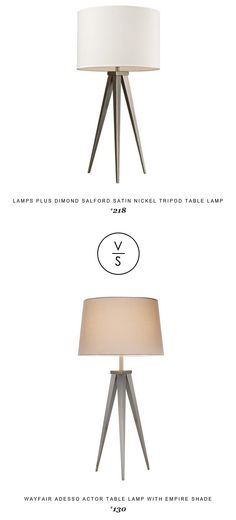 @lampsplus Dimond Salford Satin Nickel Tripod Table Lamp $218 Vs @wayfair Adesso Actor Table Lamp With Empire Shade $130