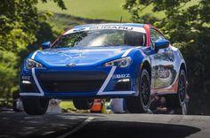Subaru BRZ at Isle of Man - cresting a jump