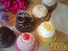 An assortment of cupcakes to celebrate a birthday from a distance.  How are you celebrating birthdays? Make A Wish, Custom Cakes, Yummy Cakes, Birthday Celebration, How To Make Cake, Distance, Cake Decorating, Special Occasion, Birthdays