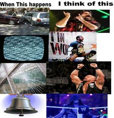 Car crash Mick Foley TV Static CM Punk Glass Breaks Stone Cold Steve Austin Bell Tolls The Undertaker