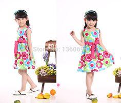Summer 2015 New Casual Cotton girl dress,Sleeveless baby girls clothes Flowers girl dresses vestido infantil kids clothes