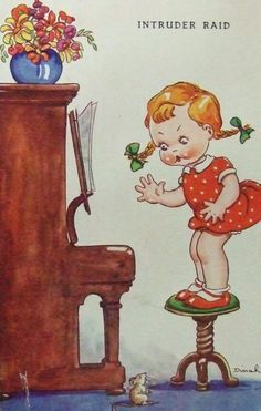 Vintage postcard, illustrated by Dinah, via Etsy.