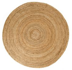 "Widths: 4ft, 6ft & 8ft  Shape: Round  100% Jute  Colors: Tan, Gray & Arctic (White)  Pile Height: 3/8""-1/2""  Jute fibers exhibit naturally anti-static, insulating and moisture regulating prope"
