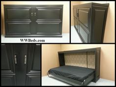 Several pictures of the horizontal murphy bed