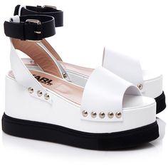 Karl Lagerfeld Platform Wedges ($450) ❤ liked on Polyvore featuring shoes, sandals, strap shoes, platform wedge shoes, karl lagerfeld, open toe shoes and white sandals