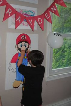 mario party game. Pin the mustache