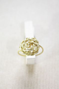 Rose Ring Rose Gold 22K Gold Sterling Silver Wire by DiAndDe