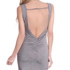 Charcoal Open Back Dress 95% Rayon, 5% Spandex. Made in USA. Boutique Dresses Midi
