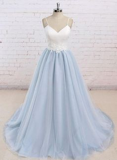 05c5e77f0181f Blue Straps Sweetheart Long Formal Dresses