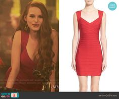 Cheryl's red body-con dress on Riverdale. Outfit Details: https://wornontv.net/68687/ #Riverdale