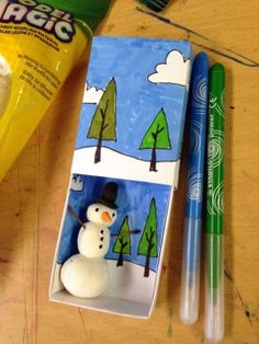Model Magic Snowman in little colored box. Box is homemade, folded from heavy cardstock paper. Winter Art Projects, Projects For Kids, Crafts For Kids, Matchbox Crafts, Matchbox Art, Model Magic, Foil Art, Art Template, Art Plastique