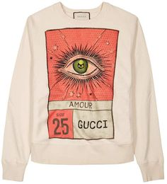 Gucci Off White Printed Cotton Sweatshirt Off White Sweatshirt, Gucci Sweatshirt, Gucci Shirts, Polo Shirt Outfits, Azul Indigo, Ripped Shirts, Trendy Hoodies, Printed Sweatshirts, Cool Outfits