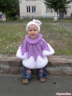 Пончо для дочки из травки - Вязание для детей - Страна Мам Crochet Baby Poncho, Knitted Baby Cardigan, Crochet Girls, Baby Knitting, Knitted Hats, Crochet Hats, Cable Knitting Patterns, Crochet Poncho Patterns, Knit In The Round