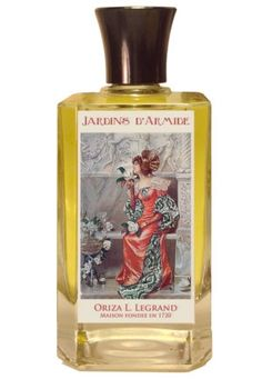 Jardins d'Armide Oriza L. Legrand. Top notes are rose, orris, powdery notes and orange blossom; middle notes are iris, violet, carnation and wisteria; base notes are honey, almond, tonka bean and musk.