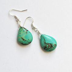 Turquoise Stone Earrings Drop Earrings Turquoise by LOVEnLAVISH, $ 18.00