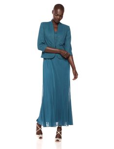 Alex evenings women's tea length blazer jacket dress (petite and regular), teal 10 Chiffon Jacket, Jacket Dress, Blazer Jacket, Tea Length Dresses, Short Dresses, Formal Dresses, Suits For Women, Clothes For Women, Alex Evenings