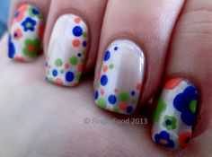 A little bit of retro by FingerFood  www.facebook.com/fingerfoodnail http://fingerfoodnails.blogspot.co.uk/2013/11/33dc-day-18-mani-featuring-two-patterns.html