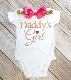 Daddy's Girl  Bodysuit, Daddy's Girl Onesie, Hospital Outfit, Coming Home Outfit, Daddy's Girl Shirt, Fathers Day Gift, Baby girl clothes by ClassySassyElegance on Etsy https://www.etsy.com/listing/275945152/daddys-girl-bodysuit-daddys-girl-onesie