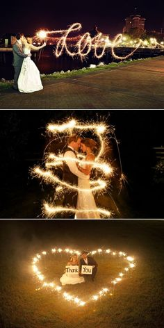 "Fun with sparklers! I really like the   ""Love"" photo. I also like the risk of playing with sparklers in an open field in   the heart picture. Who doesn't want to risk burning their wedding venue or a   random town to the ground? It's an adrenaline rush!"