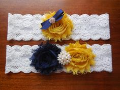 Navy and Mustard Garter Navy Garter Mustard by BloomsandBlessings, $18.00
