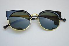 Round Half Frame Dark Lense With Gold Metallic Accents Sleek Sunglasses